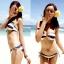 พร้อมส่ง ชุดว่ายน้ำ Bikini ผูกข้าง ลายขวางสลับสีกรมท่า ครีม สายคล้องคอ thumbnail 1