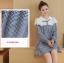 K96004 เสื้อคลุมท้องแฟชั่นเกาหลี ลายตาราง คอบัวแต่งด้วยผ้าลูกไม้ ใส่แล้วน่ารักมากๆ ค่ะ thumbnail 2
