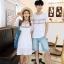 เสื้อคู่รัก แฟชั่นคู่รัก ชายเสื้อยืดคอกลม + เดรสคอกลม สีขาว แต่งลายไทย +พร้อมส่ง thumbnail 2