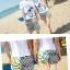 เสื้อคู่รัก ชุดคู่รักเที่ยวทะเลชาย +หญิง เสื้อยืดสีขาวลายสวีทริมทะเล กางเกงขาสั้นลายเส้น +พร้อมส่ง+ thumbnail 5