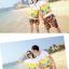 เสื้อคู่รัก ชุดคู่รักเที่ยวทะเลชาย +หญิง เสื้อยืดสีขาวลายคู่รักขับรถเที่ยวชายหาด กางเกงขาสั้นลายพระอาทิตย์โทนสีส้ม +พร้อมส่ง+ thumbnail 3