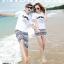 เสื้อคู่รัก ชุดคู่รักเที่ยวทะเลชาย +หญิง เสื้อยืดสีขาวลายหนวด กางเกงขาสั้นลายไทยสีดำ +พร้อมส่ง+ thumbnail 2
