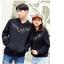 เสื้อกันหนาวคู่รักพร้อมส่ง แฟชั่นคู่รัก ชาย +หญิงเสื้อกันหนาวแบบสวม มีฮูด สีดำ แต่งลายใบไม้ thumbnail 3