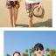 เสื้อคู่รัก ชุดคู่รักเที่ยวทะเลชาย +หญิง เสื้อยืดสีขาวลายคู่รักขับรถเที่ยวชายหาด กางเกงขาสั้นลายพระอาทิตย์โทนสีส้ม +พร้อมส่ง+ thumbnail 4