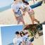 เสื้อคู่รัก ชุดคู่รักเที่ยวทะเลชาย +หญิง เสื้อยืดสีขาวลายสวีทริมทะเล กางเกงขาสั้นลายไทยโทนสีส้ม +พร้อมส่ง+ thumbnail 4