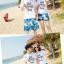 เสื้อคู่รัก ชุดคู่รักเที่ยวทะเลชาย +หญิง เสื้อยืดสีขาวลายแว่นตา กางเกงขาสั้นลายแฉกโทนสีฟ้า +พร้อมส่ง+ thumbnail 2