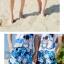เสื้อคู่รัก ชุดคู่รักเที่ยวทะเลชาย +หญิง เสื้อยืดสีขาวลายสวีทริมทะเล กางเกงขาสั้นลายต้นมะพร้าวโทนสีฟ้า +พร้อมส่ง+ thumbnail 9