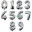 """ลูกโป่งฟอยล์รูปตัวเลข 0 สีเงิน ไซส์เล็ก 14 นิ้ว - Number 0 Shape Foil Balloon Size 14"""" Silver Color thumbnail 7"""