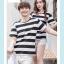 +พร้อมส่ง+ เสื้อคู่รักเกาหลี แฟชั่นคู่รัก ชายหญิง เสื้อยืดคอกลม ลายริ้วใหญ่ สีดำสลับขาว thumbnail 7