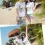 เสื้อคู่รัก ชุดคู่รักเที่ยวทะเลชาย +หญิง เสื้อยืดสีขาวลายคู่รักสวีทพระอาทิพย์ตกดิน กางเกงขาสั้นลายเส้น +พร้อมส่ง+ thumbnail 3