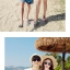 เสื้อคู่รัก ชุดคู่รักเที่ยวทะเลชาย +หญิง เสื้อยืดสีขาวลายคู่รักนอนตากแดด กางเกงขาสั้นลายแฉกโทนสีฟ้า +พร้อมส่ง+ thumbnail 9