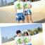 เสื้อคู่รัก ชุดคู่รักเที่ยวทะเลชาย +หญิง เสื้อยืดสีขาวลายต้นมะพร้าว กางเกงขาสั้นลายแฉกโทนสีฟ้า +พร้อมส่ง+ thumbnail 3
