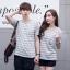 +พร้อมส่ง+ เสื้อคู่รักเกาหลี แฟชั่นคู่รัก ชายหญิง เสื้อยืดคอกลม ลายริ้ว สีเทาสลับขาว thumbnail 3