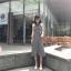 เสื้อผ้าแฟชั่นสไตส์เกาหลี เดรสยาวแขนกุด ลายริ้วสีดำขาว +พร้อมส่ง+ thumbnail 8