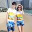 เสื้อคู่รัก ชุดคู่รักเที่ยวทะเลชาย +หญิง เสื้อยืดสีขาวลายคู่รักขับรถเที่ยวชายหาด กางเกงขาสั้นลายต้นมะพร้าวโทนสีฟ้า +พร้อมส่ง+ thumbnail 1