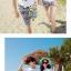 เสื้อคู่รัก ชุดคู่รักเที่ยวทะเลชาย +หญิง เสื้อยืดสีขาวลายคู่รักสวีทพระอาทิพย์ตกดิน กางเกงขาสั้นลายเส้น +พร้อมส่ง+ thumbnail 4