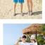 เสื้อคู่รัก ชุดคู่รักเที่ยวทะเลชาย +หญิง เสื้อยืดสีขาวลายแว่นตา กางเกงขาสั้นลายมะพร้าวโทนสีฟ้า +พร้อมส่ง+ thumbnail 3