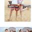 เสื้อคู่รัก ชุดคู่รักเที่ยวทะเลชาย +หญิง เสื้อยืดสีขาวลาย LO VE กางเกงขาสั้นลายแถบสีโทนสีรุ้ง +พร้อมส่ง+ thumbnail 4