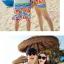 เสื้อคู่รัก ชุดคู่รักเที่ยวทะเลชาย +หญิง เสื้อยืดสีขาวลายต้นมะพร้าวลอยน้ำ กางเกงขาสั้นลายไทยโทนสีส้ม +พร้อมส่ง+ thumbnail 3