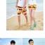 เสื้อคู่รัก ชุดคู่รักเที่ยวทะเลชาย +หญิง เสื้อยืดสีขาวลาย LO VE กางเกงขาสั้นลายแถบสี+พร้อมส่ง+ thumbnail 4