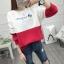 เสื้อแขนยาวแฟชั่นพร้อมส่ง เสื้อแขนยาวแต่งสีขาวสลับแดง แต่งสกรีนตัวอักษร +พร้อมส่ง+ thumbnail 1