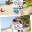 เสื้อคู่รัก ชุดคู่รักเที่ยวทะเลชาย +หญิง เสื้อยืดสีขาวลายแว่นตา กางเกงขาสั้นลายแฉกโทนสีฟ้า +พร้อมส่ง+ thumbnail 4