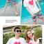 เสื้อคู่รัก ชุดคู่รักเที่ยวทะเลชาย +หญิง เสื้อยืดสีขาวลายหัวใจ กางเกงขาสั้นลายแถบสี โทนสีรุ้ง +พร้อมส่ง+ thumbnail 4