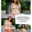 ชุดว่ายน้ำสีส้มโอรส กางเกงขาสั้น เสื้อแต่งระบายที่อก ลายเบอร์รี่สีสันสวยสด thumbnail 3