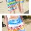 เสื้อคู่รัก ชุดคู่รักเที่ยวทะเลชาย +หญิง เสื้อยืดสีขาวลายคนติดเกาะ กางเกงขาสั้นลายไทยโทนสีส้ม +พร้อมส่ง+ thumbnail 8
