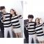 เสื้อแขนยาวคู่รัก เสื้อผ้าแฟชั่น ชาย +หญิง เสื้อแขนยาว รายริ้ว แต่งสีดำสลับสีขาว +พร้อมส่ง+ thumbnail 5