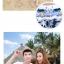 เสื้อคู่รัก ชุดคู่รักเที่ยวทะเลชาย +หญิง เสื้อยืดสีขาวลายคนนั่งมองดูนก กางเกงขาสั้นโทนสีกรมม่วง +พร้อมส่ง+ thumbnail 6