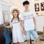 เสื้อคู่รัก แฟชั่นคู่รัก ชายเสื้อยืดคอกลม + เดรสคอกลม สีขาว แต่งลายไทย +พร้อมส่ง thumbnail 6