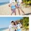 เสื้อคู่รัก ชุดคู่รักเที่ยวทะเลชาย +หญิง เสื้อยืดสีขาวลายคนติดเกาะ กางเกงขาสั้นลายไทยโทนสีส้ม +พร้อมส่ง+ thumbnail 5