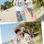 เสื้อคู่รัก ชุดคู่รักเที่ยวทะเลชาย +หญิง เสื้อยืดสีขาวลายคู่รักสวีทพระอาทิพย์ตกดิน กางเกงขาสั้นลายเส้น +พร้อมส่ง+ thumbnail 6