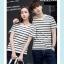 +พร้อมส่ง+ เสื้อคู่รักเกาหลี แฟชั่นคู่รัก ชายหญิง เสื้อยืดคอกลม ลายริ้ว สีดำสลับขาว thumbnail 1
