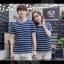 +พร้อมส่ง+ เสื้อคู่รักเกาหลี แฟชั่นคู่รัก ชายหญิง เสื้อยืดคอกลม ลายริ้ว สีน้ำเงินสลับขาว thumbnail 8