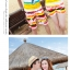 เสื้อคู่รัก ชุดคู่รักเที่ยวทะเลชาย +หญิง เสื้อยืดสีขาวลายคนนั่งมองดูนก กางเกงขาสั้นลายแถบสี +พร้อมส่ง+ thumbnail 6