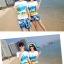 เสื้อคู่รัก ชุดคู่รักเที่ยวทะเลชาย +หญิง เสื้อยืดสีขาวลายคู่รักสวีทเที่ยวทะเล กางเกงขาสั้นลายแฉกโทนสีฟ้า +พร้อมส่ง+ thumbnail 3