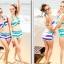 พร้อมส่ง ชุดว่ายน้ำบิกินี่ทูพีซ สไตล์สปอร์ตเกิร์ล กางเกงขาสั้น ลายขวางสลับสีสวย thumbnail 6
