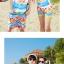 เสื้อคู่รัก ชุดคู่รักเที่ยวทะเลชาย +หญิง เสื้อยืดสีขาวลายคนติดเกาะ กางเกงขาสั้นลายไทยโทนสีส้ม +พร้อมส่ง+ thumbnail 6
