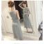เสื้อผ้าแฟชั่นสไตส์เกาหลี เดรสยาวแขนกุด ลายริ้วสีเทาขาว+พร้อมส่ง+ thumbnail 7