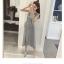 เสื้อผ้าแฟชั่นสไตส์เกาหลี เดรสยาวแขนกุด ลายริ้วสีเทาขาว+พร้อมส่ง+ thumbnail 5