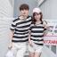 +พร้อมส่ง+ เสื้อคู่รักเกาหลี แฟชั่นคู่รัก ชายหญิง เสื้อยืดคอกลม ลายริ้วใหญ่ สีดำสลับขาว thumbnail 3
