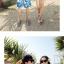 เสื้อคู่รัก ชุดคู่รักเที่ยวทะเลชาย +หญิง เสื้อยืดสีขาวลายคู่รักสวีทพระอาทิพย์ตกดิน กางเกงขาสั้นลายแฉกโทนสีฟ้า +พร้อมส่ง+ thumbnail 4