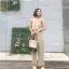 เสื้อผ้าแฟชั่นสไตส์เกาหลี แซกจั้มสูทสายเดี่ยว สีครีม +พร้อมส่ง+ thumbnail 1