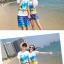 เสื้อคู่รัก ชุดคู่รักเที่ยวทะเลชาย +หญิง เสื้อยืดสีขาวลายคู่รักสวีทเที่ยวทะเล กางเกงขาสั้นลายมะพร้าวโทนสีฟ้า +พร้อมส่ง+ thumbnail 3