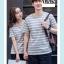 +พร้อมส่ง+ เสื้อคู่รักเกาหลี แฟชั่นคู่รัก ชายหญิง เสื้อยืดคอกลม ลายริ้ว สีเทาสลับขาว thumbnail 4
