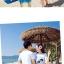 เสื้อคู่รัก ชุดคู่รักเที่ยวทะเลชาย +หญิง เสื้อยืดสีขาวลายสวีทริมทะเล กางเกงขาสั้นลายมะพร้าวโทนสีฟ้า +พร้อมส่ง+ thumbnail 5