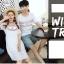 เสื้อคู่รัก แฟชั่นคู่รัก ชายเสื้อยืดคอกลม + เดรสคอกลม สีขาว แต่งลายไทย +พร้อมส่ง thumbnail 9