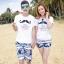 เสื้อคู่รัก ชุดคู่รักเที่ยวทะเลชาย +หญิง เสื้อยืดสีขาวลายหนวด กางเกงขาสั้นโทนสีกรมม่วง +พร้อมส่ง+ thumbnail 1